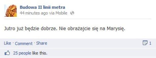 Żartobliwy komunikat Budowa II linii metra / Facebook