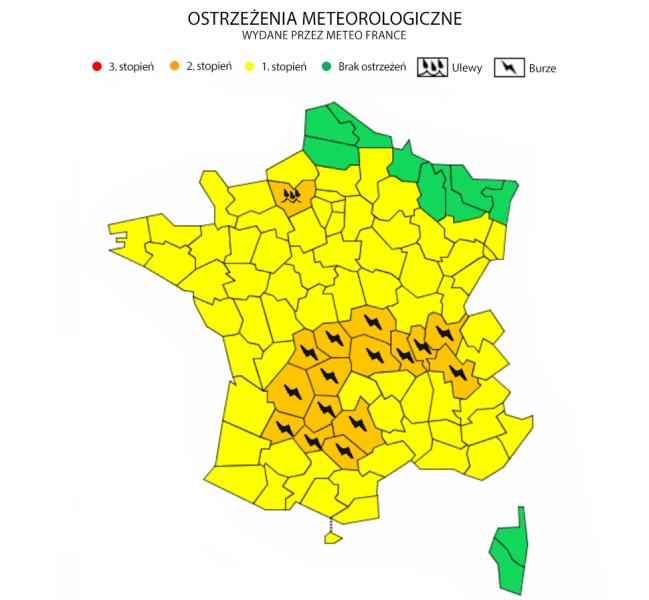 Ostrzeżenia meteorologiczne (Meteo France)