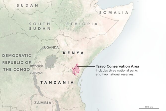 Park Narodowy Tsavo - Kenia (NASA/Joshua Stevens/LPDAAC/Google Earth)