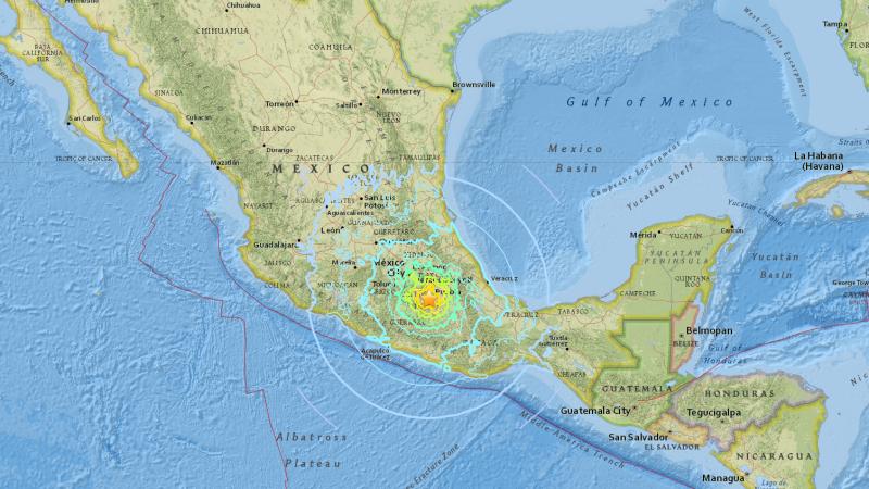 Mapa trzęsienia ziemi w Meksyku (USGS)