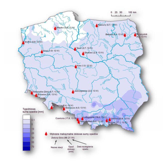 Rozkład tygodniowej sumy opadów oraz wybrane maksymalne dobowe sumy opadów (w okresie 7 kwiecień – 14 kwiecień 2020 r.) (IMGW-PIB)