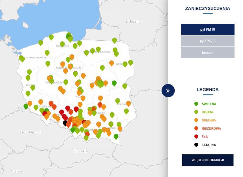 Stężenie pyłu PM10 o godzinie 8 (tvnmeteo.pl za GIOŚ)