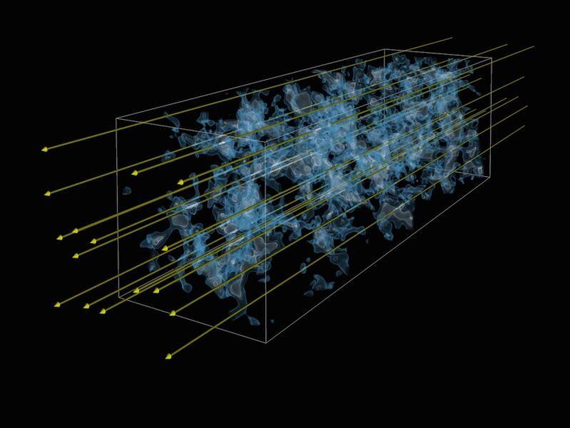 Wizualizacja odległego o 10,8 mld lat świetlnych Wszechświata. Niebieski dym - wodór, żółte strzałki określają kierunek chronologiczny