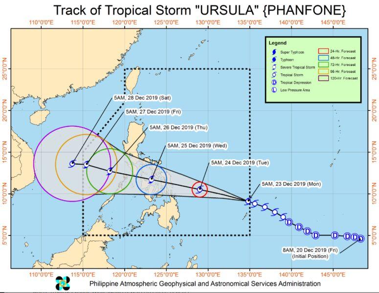Prognozowana trasa tajfunu Phanfone (bagong.pagasa.dost.gov.ph)