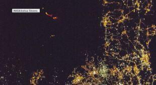 Lawa w wulkanie Etna widoczna z pokładu stacji kosmicznej